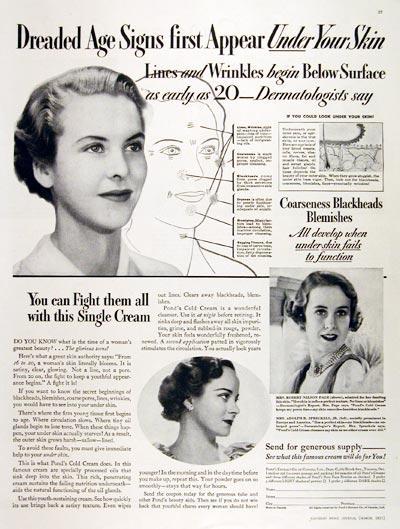 Ponds Cold Cream Ad 1935