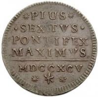 "Papežská mince Pia VI. z 18. století s titulem ""Pius VI Pontifex Maximus."""