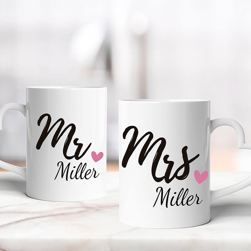 Personalised Valentine's Heart Mugs