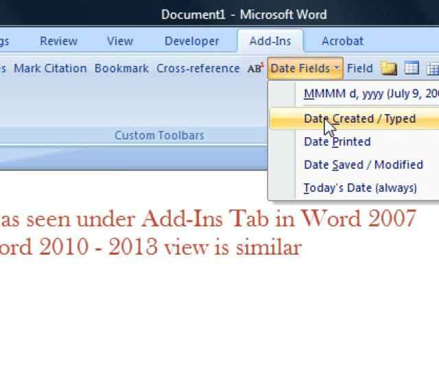 Add Ins Legal Toolbar Dates Help Microsoft Word