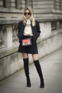 Adorable Winter Outfits Ideas Boots Skirts04