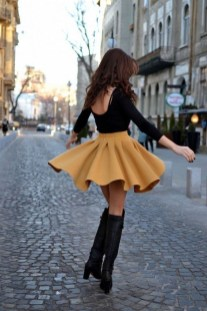 Adorable Winter Outfits Ideas Boots Skirts05
