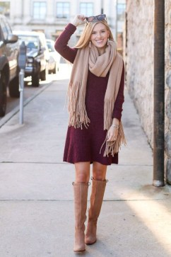 Adorable Winter Outfits Ideas Boots Skirts07