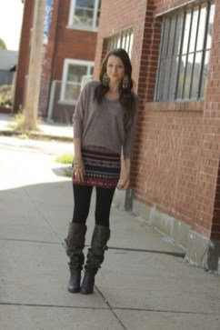 Adorable Winter Outfits Ideas Boots Skirts08