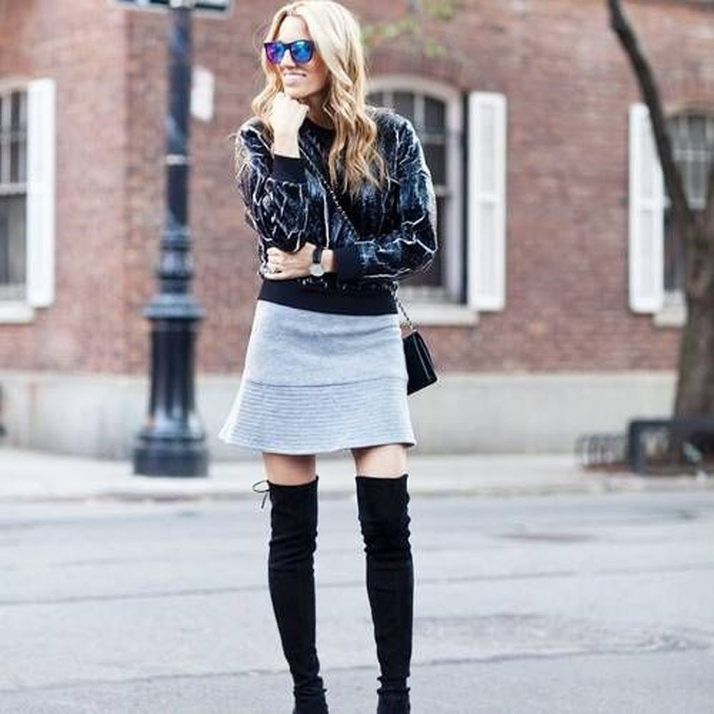 Adorable Winter Outfits Ideas Boots Skirts39