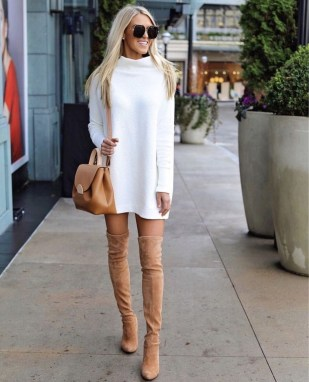 Awesome Winter Dress Outfits Ideas With Boots27