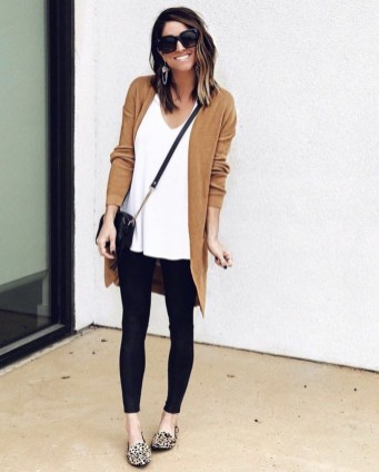 Fancy Work Outfits Ideas With Black Leggings To Copy Right Now08