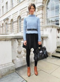 Fancy Work Outfits Ideas With Black Leggings To Copy Right Now12