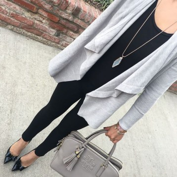 Fancy Work Outfits Ideas With Black Leggings To Copy Right Now16