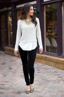 Fancy Work Outfits Ideas With Black Leggings To Copy Right Now21
