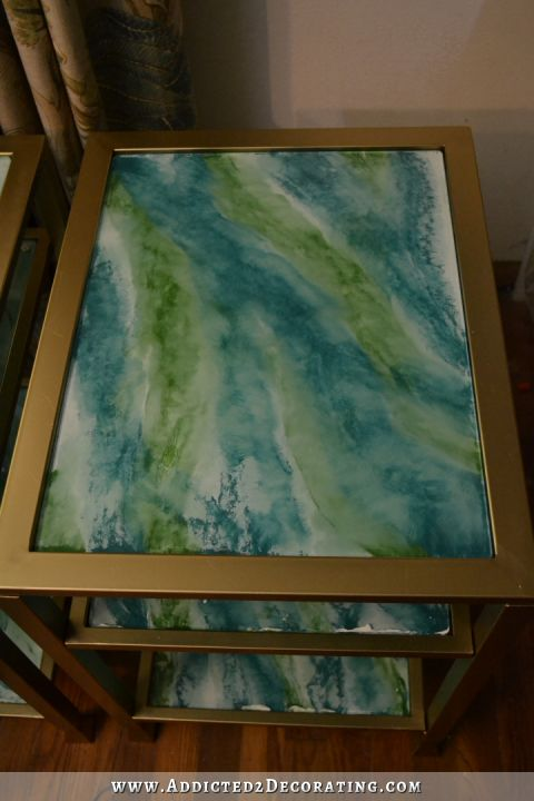 Diy Marbleized Back Painted Glass End Table