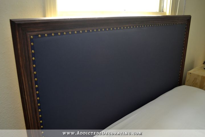 DIY Wood Framed Upholstered Headboard With Nailhead Trim