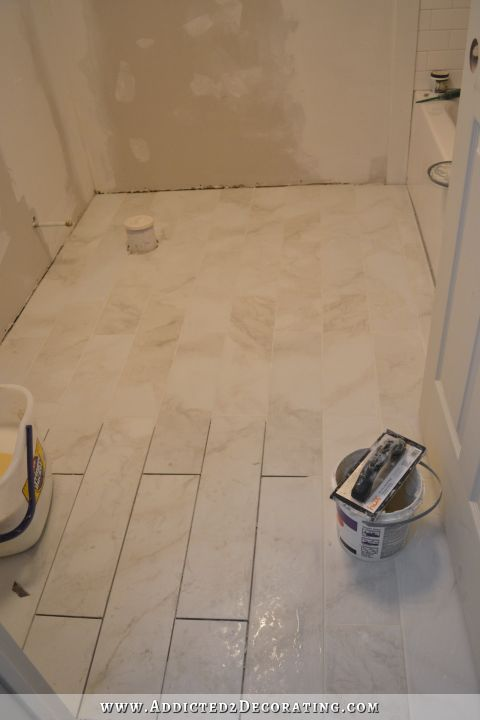Finished Bathroom Floor And The Amazing Difference Grout