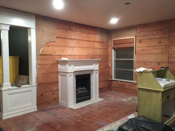 Meanwhile  Back In The Dining Room    dining room with old drywall removed and shiplap exposed
