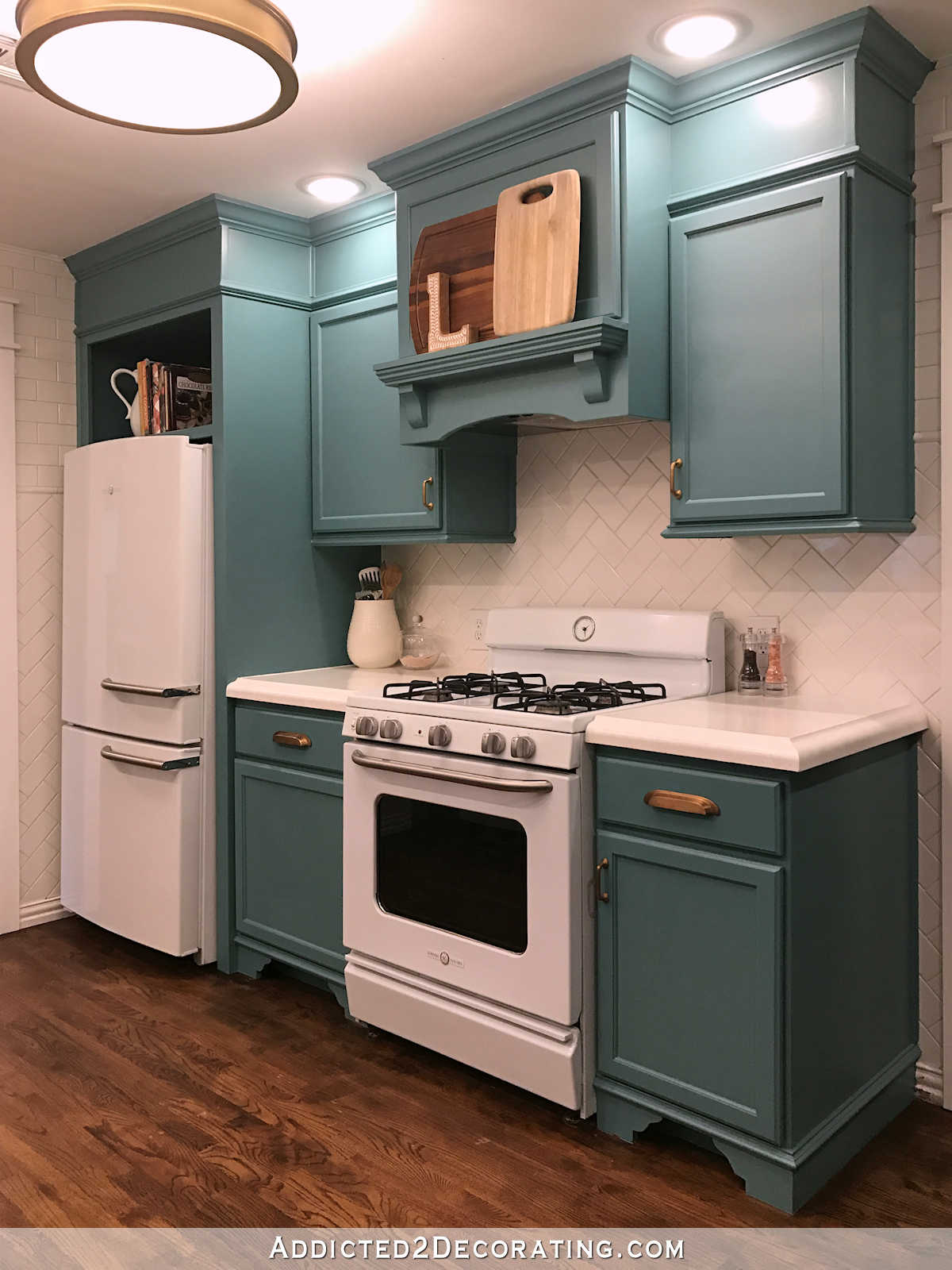 My Finished For Now Kitchen From Kelly Green To Teal