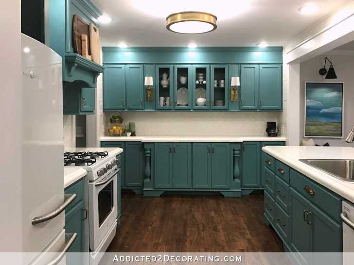 Teal Kitchen Wall Cabinets Living Room Doorway