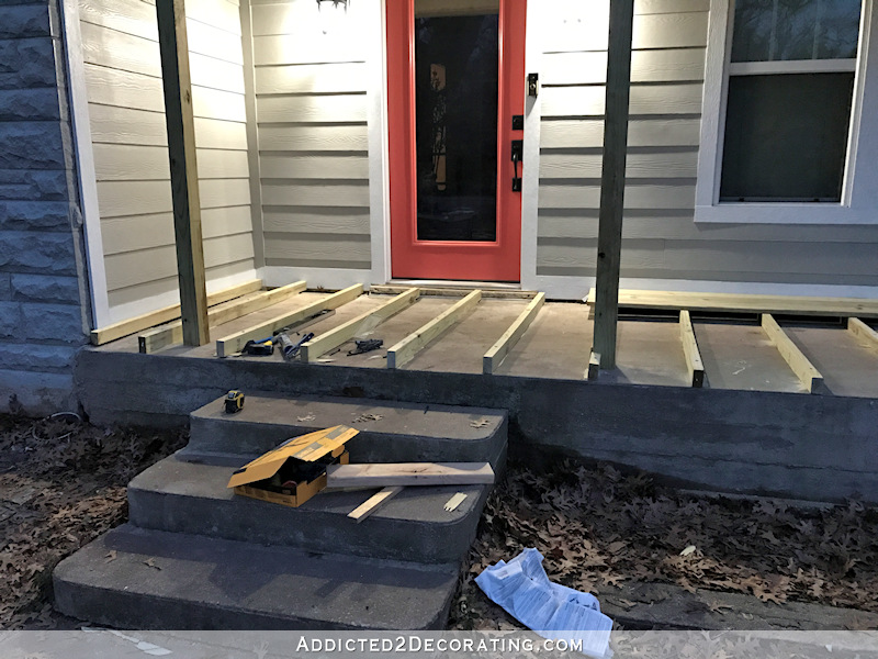 existing concrete porch with wood