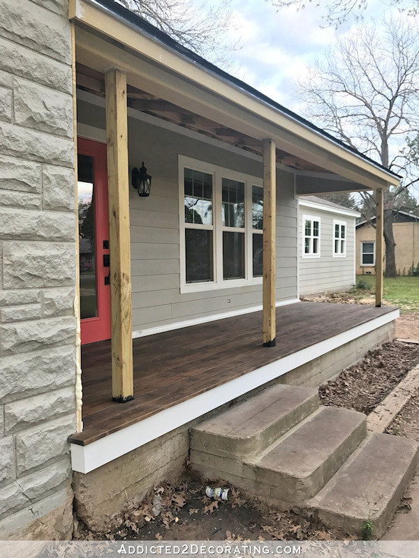 Finished Front Porch Floor Wood Front Porch Built Over Existing | Replacing Concrete Steps With Wood | Stringers | Stair Railing | Composite Decking | Pouring Concrete | Concrete Slab