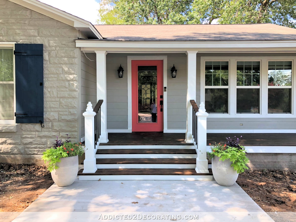 My Finished Front Porch Steps And Railings Addicted 2 Decorating® | Handrails For Front Steps | Small House | Granite | Easy | Cast Iron | Wrought Iron