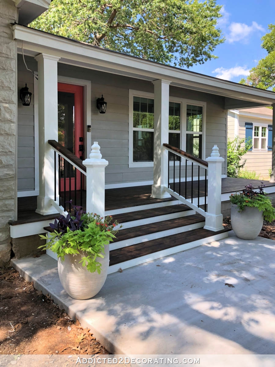 My Finished Front Porch Steps And Railings Addicted 2 Decorating® | Exterior Handrails For Steps | Cast Iron | 3 Step | Brushed Nickel | Front Step Railing Pipe | Garden