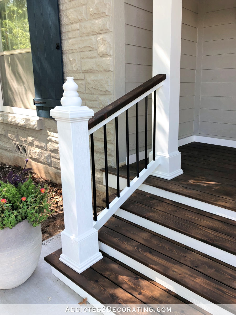 My Finished Front Porch Steps And Railings Addicted 2 | Diy Handrails For Exterior Stairs