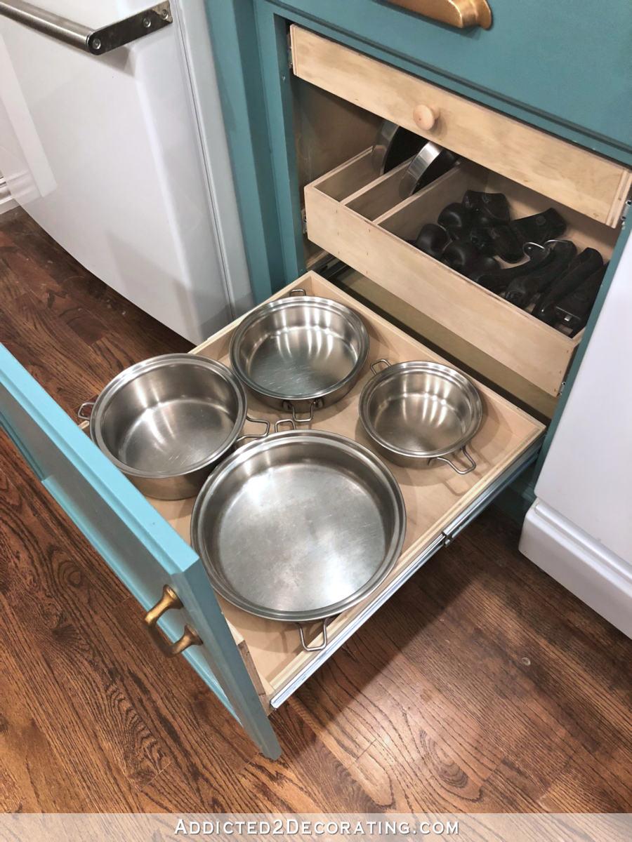 diy pull out shelves pots pans
