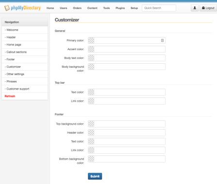 Listimia Options: Customizer