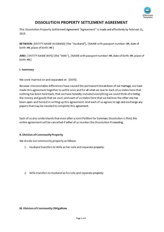 Property Settlement Agreement Template Addictionary