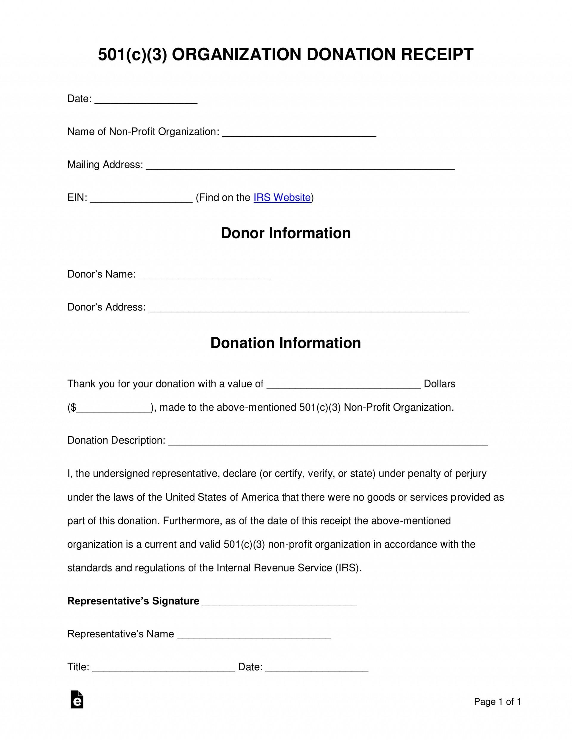Non Profit Donation Receipt Template Addictionary