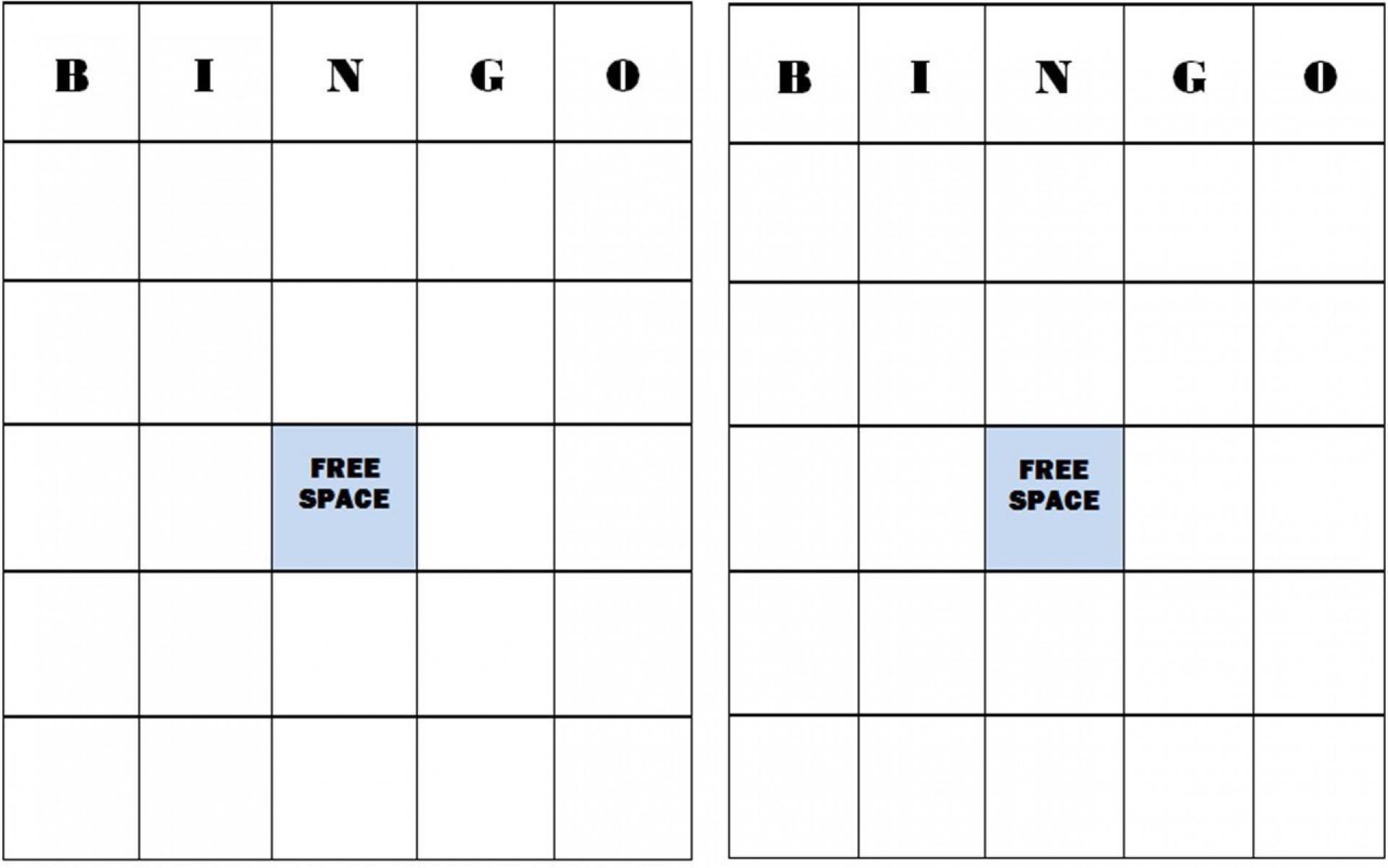 Bingo Card Template Free Addictionary