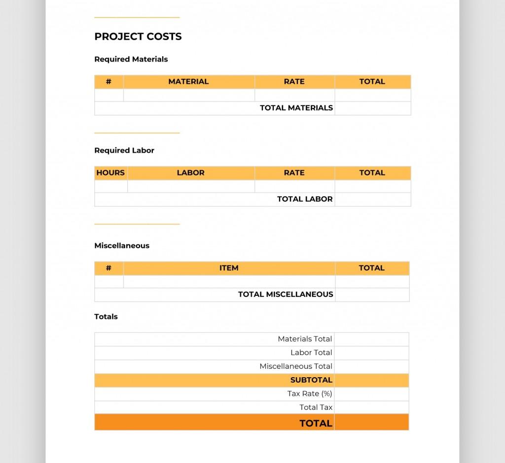 Construction Spec Sheet Template Addictionary