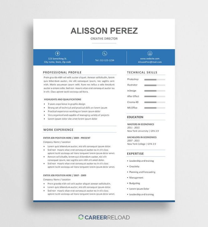 007 Dreaded Free Resume Template