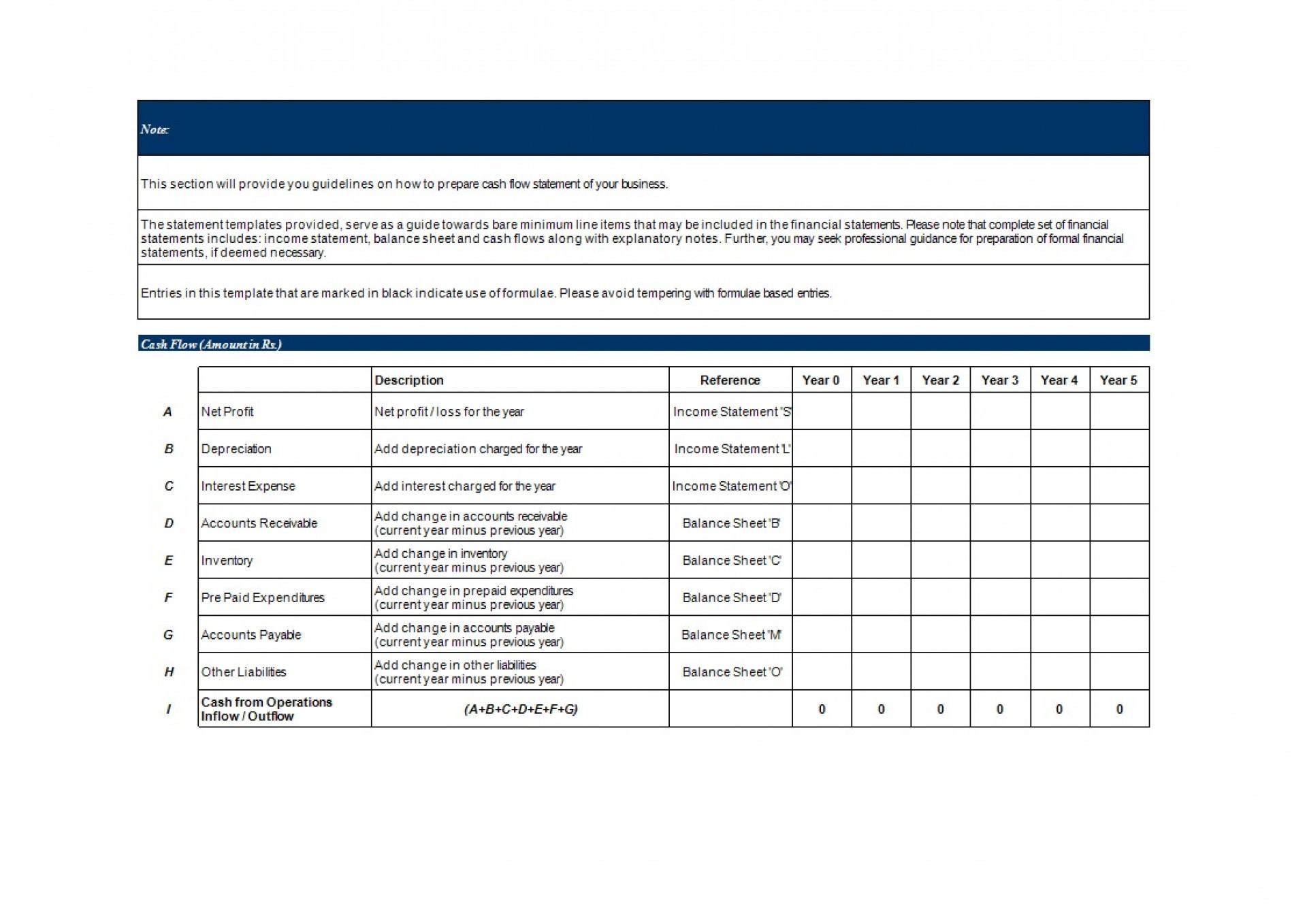 Cash Flow Statement Template Excel Addictionary