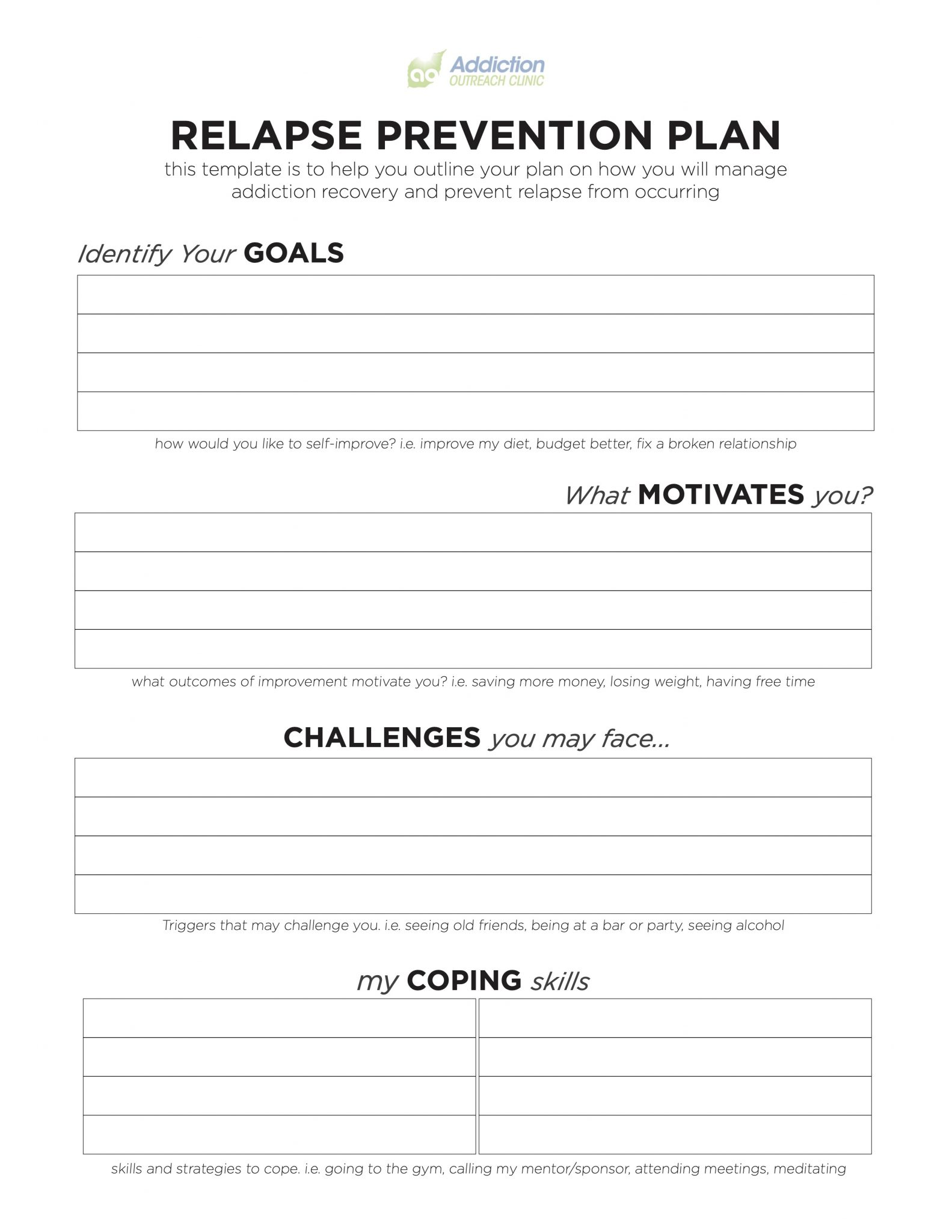 Relapse Prevention Plan Template