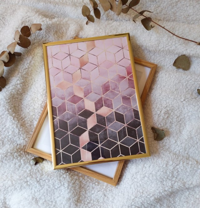Pink Grey Gradient Cubes Poster Store