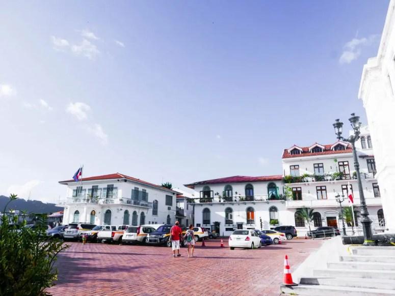 A car park and the french embassy in Casco Viejo, Panama City, Panama