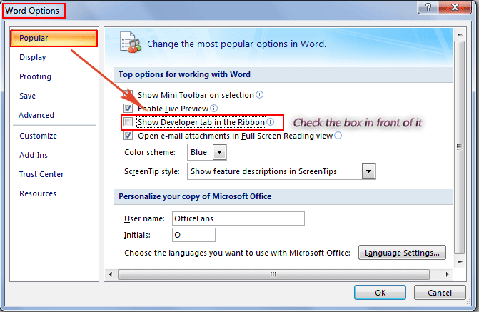 add scanner button in microsoft word 2007  word 2010  word 2013