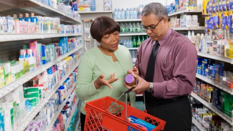 A couple shopping for natural remedies for those who can't sleep.