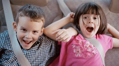 Two children with ADHD in frenzy in car