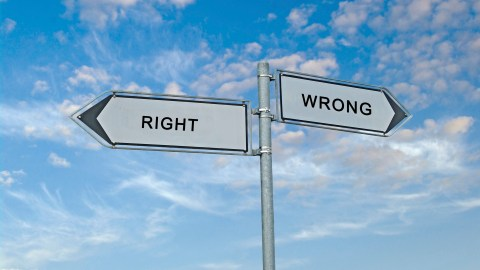 A road sign has an arrow pointing to Right and another toward wrong. Those with ADHD have a strong moral compass.