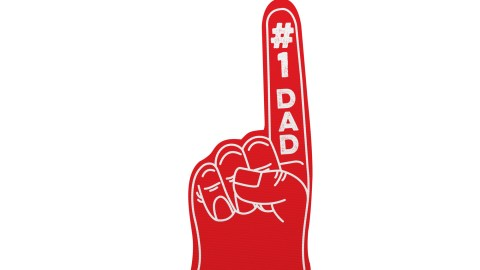 A foam hand that says #1 Dad, a gift kids will give fathers who follow these strategies for how to be a better dad.
