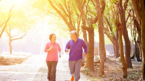 Older couple walking in the park and discussing the signs of adult ADHD