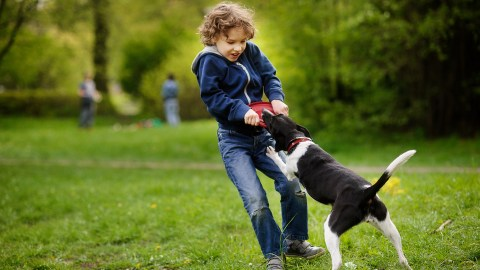 A boy with ADHD playing with a dog in the backyard.