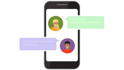 Graphic illustration of text messages between parent and teacher