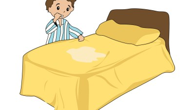 Illustration of ADHD boy that wet the bed