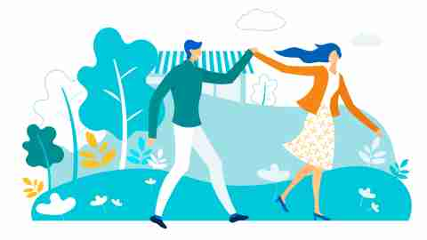 Happy Couple Holding Hands Walking in City Park. Loving Pair of Male and Female Characters Spending Time Outdoors at Summer Time. Love, Human Relations, Friendship. Cartoon Flat Vector Illustration