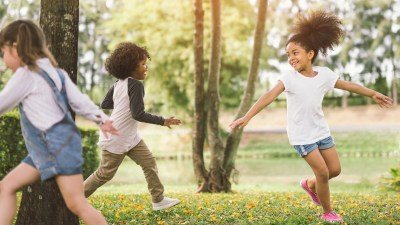 Girls with ADHD run and play outside.