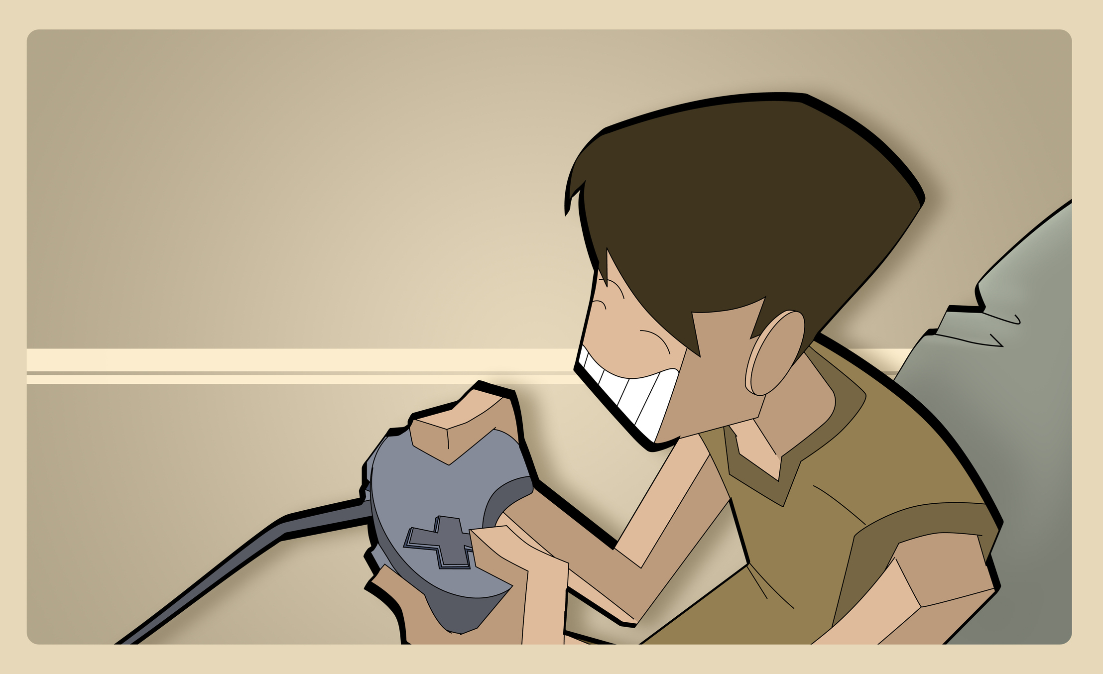 Illustration of ADHD boy playing video game