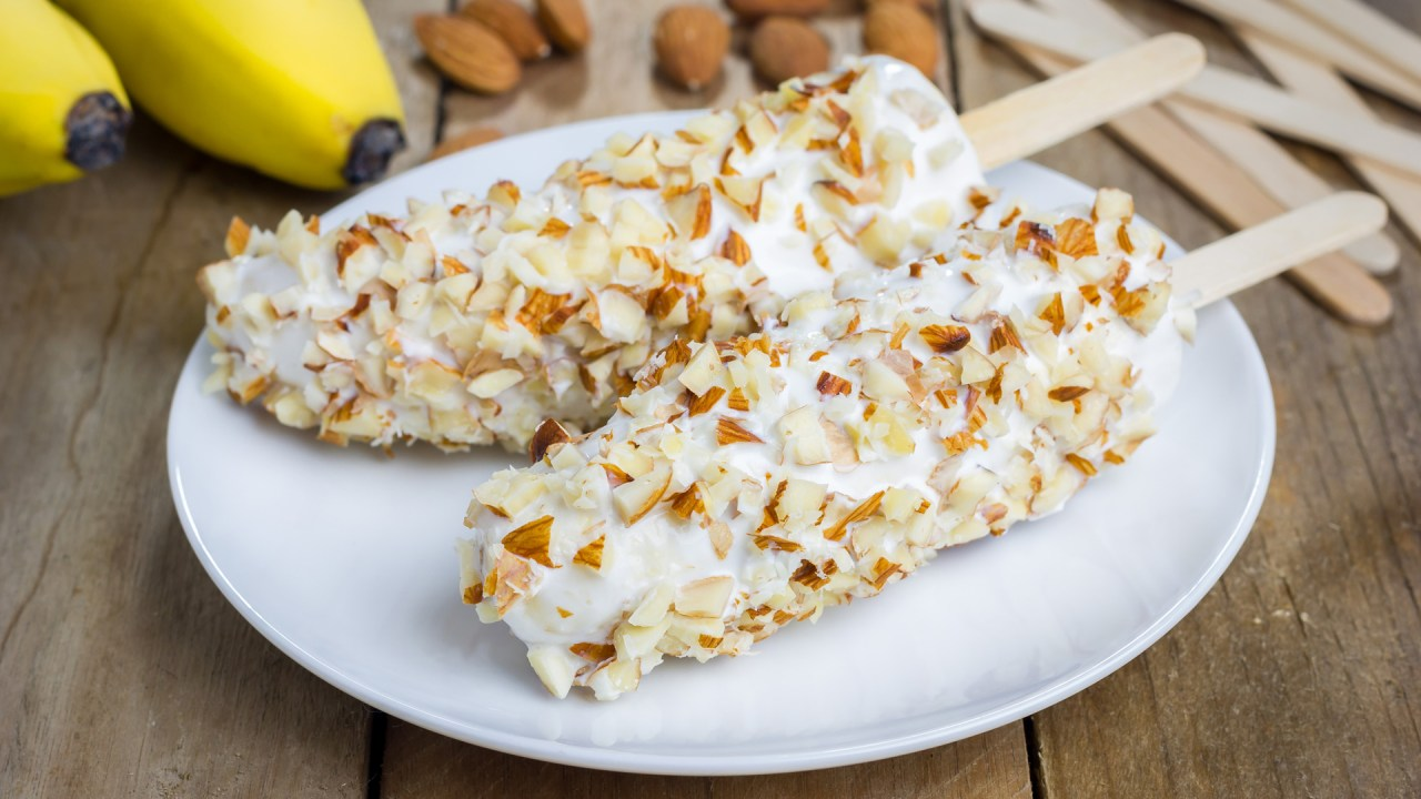 frozen bananas with yogurt and nuts, a healthy dessert idea for children with ADHD who are picky eaters