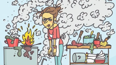 woman with ADHD burns dinner, gets frustrated in the kitchen as she prepares to host a dinner party